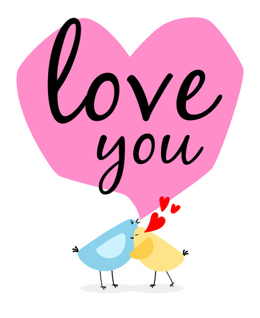 Two birds and hearts card Illustration