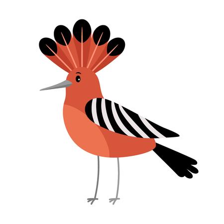 Hoopoe cartoon bird icon