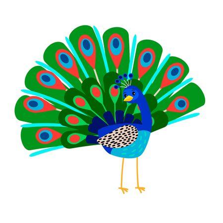 Cartoon peacock bird icon Vectores