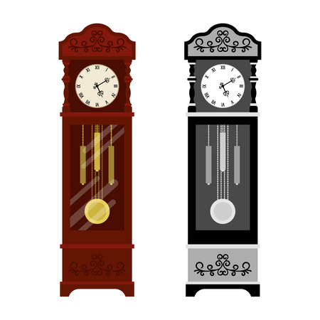 Analog old and grayscale version clock Stock Illustratie