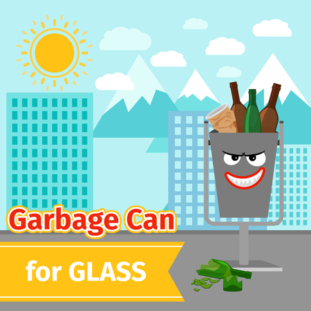Glass trash can with monster face Illustration