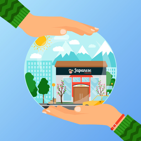 Business concept for opening japanese restaurant  イラスト・ベクター素材
