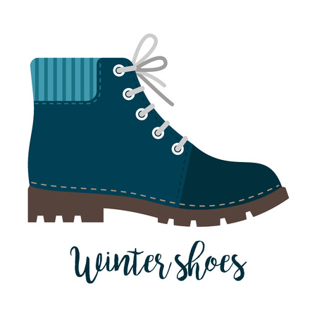 Winter shoes icon with text Stock Illustratie