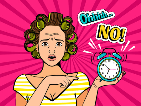 Pop art girl with clock isolated on a pink background