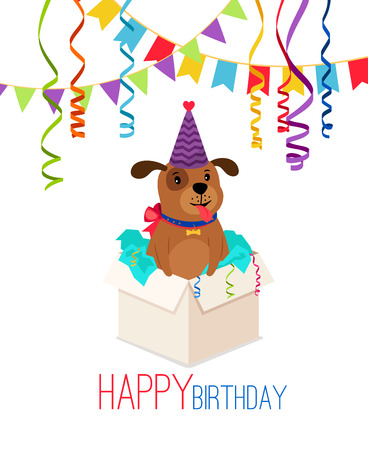 Happy Birthday puppy in box card with decoration illustration. Illustration