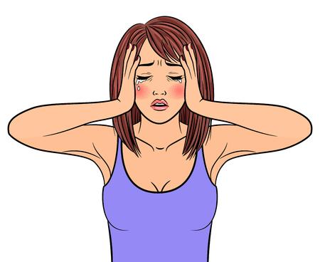 Schöne Frau weinen