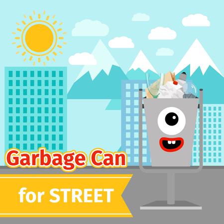 Monster face garbage can with street trash Vector illustration. Illustration
