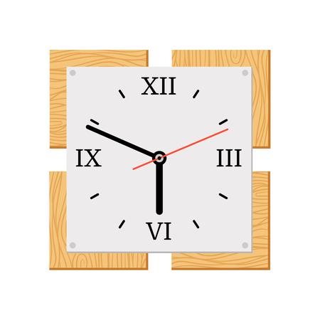 Square wooden wall clock with roman numerals
