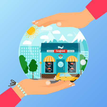 Business concept for opening the institution of seafood store. A woman is holding a glass ball with her hands, vector illustration