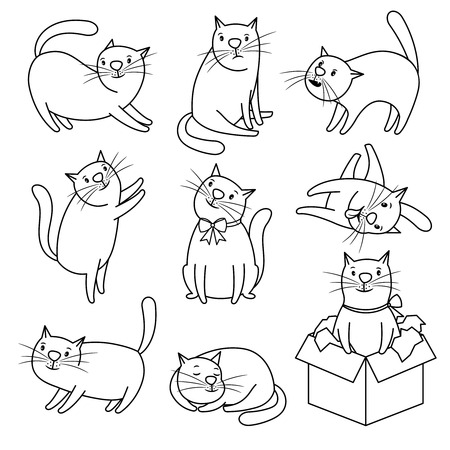 Doodle sketch cats character set