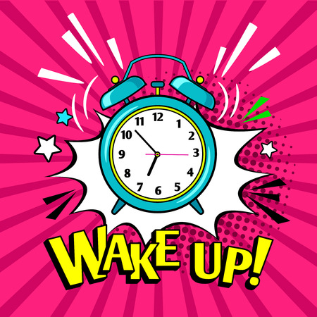 Wake up lettering with funny alarm clock vector illustration