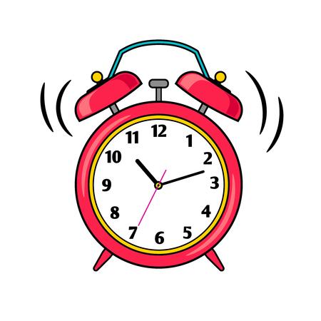 Cartoon red ringing alarm clock