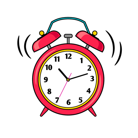 Cartoon red ringing alarm clock