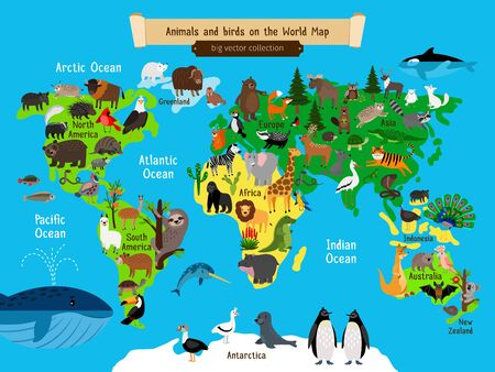 World Map Animals. Europe and Asia, South and North America, Australia and Africa and ocean Animals geography map vector illustration for kids