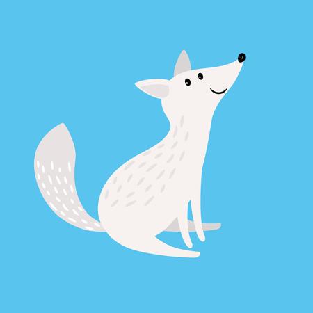 Arctic fox. Snow fox or polar wolf vector illustration isolated on blue background