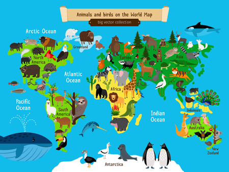World Map Animals. Europe and Asia, South and North America, Australia and Africa Animals map vector illustration.