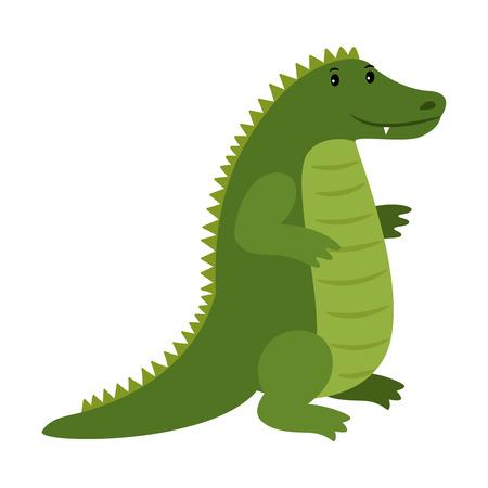 Alligator, vector happy cartoon crocodile mascot illustration.