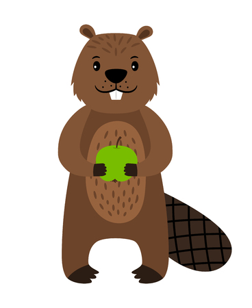 Beaver. Vector cartoon beaver character isolated