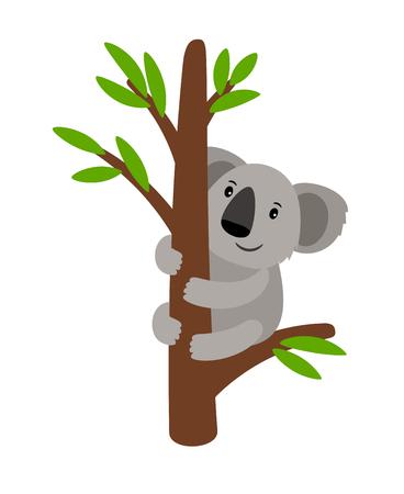 Ours koala gris sur une icône d'animal dessin animé arbre isolé sur fond blanc, illustration vectorielle Vecteurs