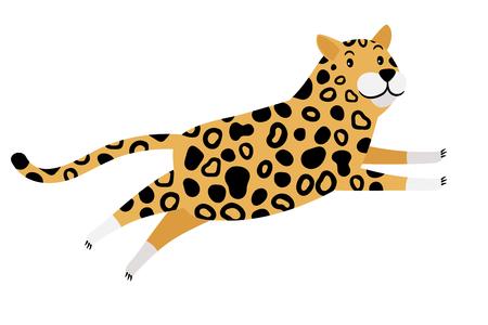 Running cartoon leopard animal icon isolated on white background. Cheetah vector illustration