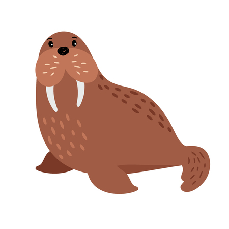 Walrus cartoon animal icon isolated on white background, vector illustration Ilustração