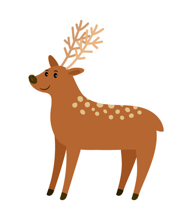 Spotted cartoon deer on white