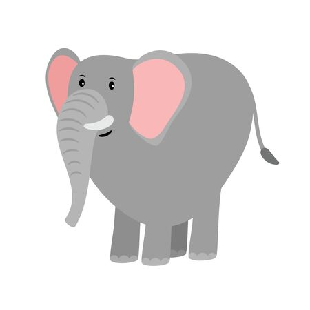 Cute grey cartoon elephant