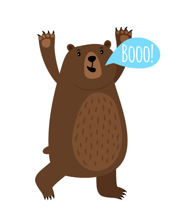 Cartoon bear with Booo speach bubble Illustration