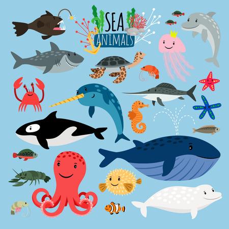 Sea Animals. Vector underwater animal creatures and fish in sea, swordfish and langoustine, ocean turtle and starfish