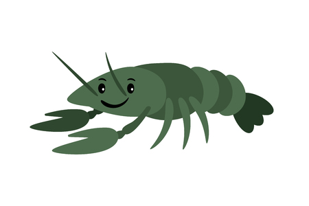 Crayfish. Vector delicacy river lobster, langoustine or spiny lobster or crustacean delicacies isolated Illustration