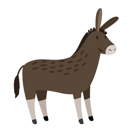 Vector Donkey. Funny donkey or mule isolated on white