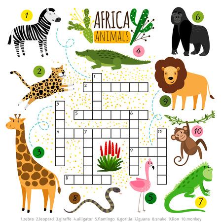 Kreuzworträtsel afrikanische Tiere. Afrikanisches Kreuzworträtsel des Kinderzoos für Schulkinder, Wortsuchspiel