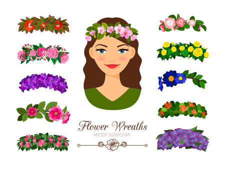 Girls flower wreaths Иллюстрация