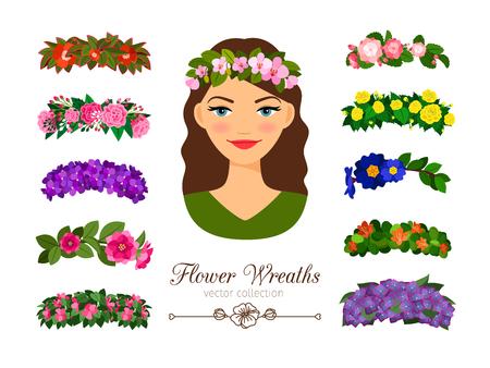 Girls flower wreaths Illustration