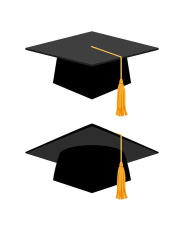 Graduation cap on white background