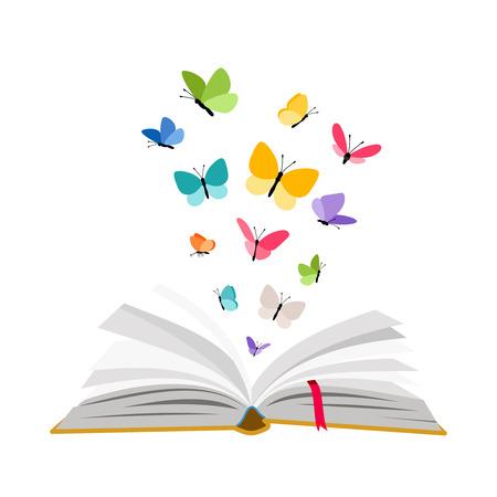 Libro abierto con mariposas