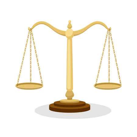 Equilibrium scales. Standing balance judicial scales isolated on white, court concept cartoon vector