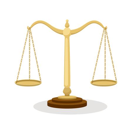 Escalas de equilibrio. Escalas judiciales de equilibrio permanente aisladas en blanco, vector de dibujos animados de concepto de corte