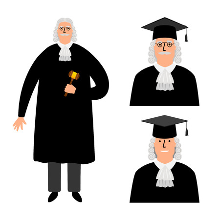 Richter. Cartoon judge vector illustration, legal court character in mantle isolated on white Illustration