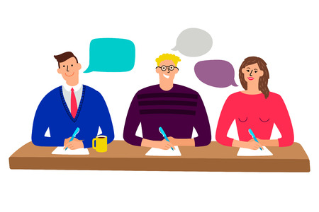 Judging committee. Judges table with quiz scoring men and woman people vector illustration