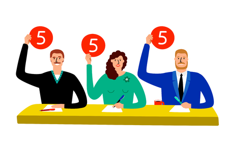 Quiz jury. Competition judge group sitting at table, estimate and show opinion scorecards vector illustration Illustration