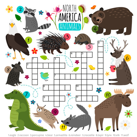 Animals crossword. Kids words brainteaser with north america animal set, word searching puzzle game Illustration