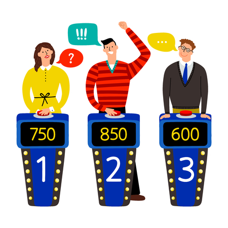 Quiz show. Answering people on quiz game vector illustration, gaming show with questions and answers, standing persons and buttons on buzzers