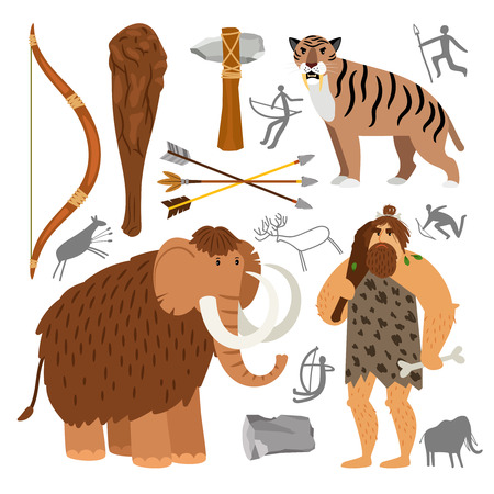 Stone age neanderthal caveman icons Stock Vector - 103123600