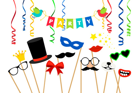Carnaval party accessories. Masquerade masks and birthday photo booth props vector illustration