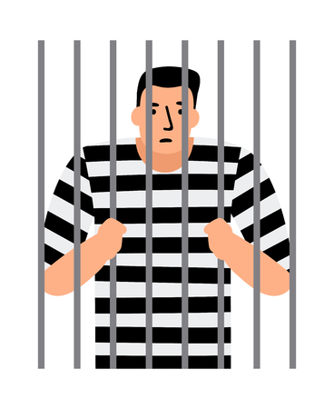 Criminal man in jail, man under arrest, behind bars, vector illustration Imagens