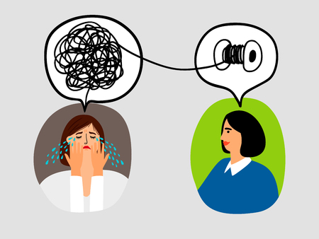 Psychotherapy concept with woman doctor and lady patient crying, vector illustration Stock Illustratie