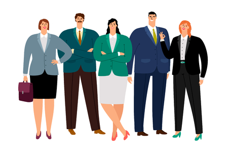 Office working people icons set on white background, vector illustration