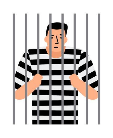 Criminal man in jail, man under arrest, behind bars, vector illustration Illustration