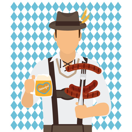Traditional Oktoberfest man character with beer and sausages vector illustration